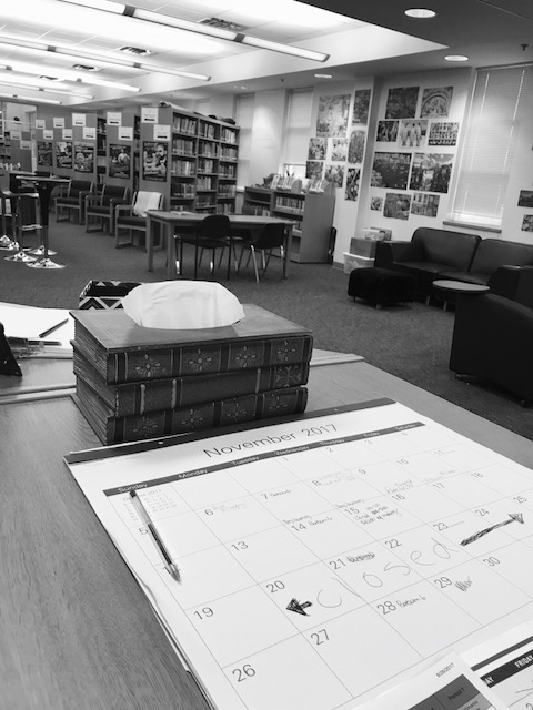 black and white of library